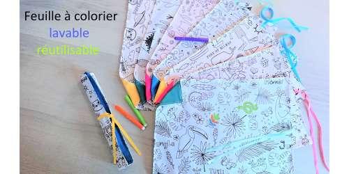 Feuilles à colorier en tissu réutilisables, jeu ludique et zéro déchet,