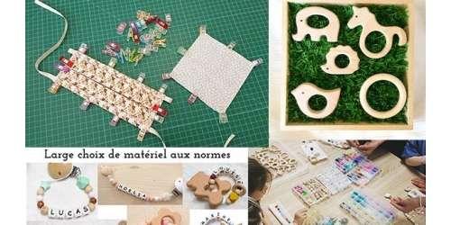 Produits pour créations bébé DIY : perles et anneaux aux normes  EN71, silicone et bois